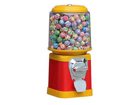 Commercial Coin Operated Candy Dispenser  Red In Yellow Mid Size