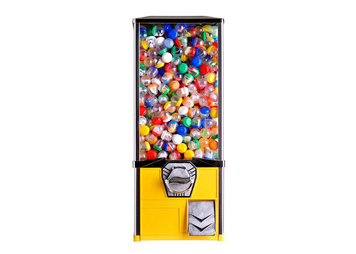 "gacha capsule vending machine different height  yellow 2.5"" metal for selling items on park"